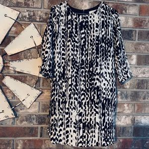Everly Long Sleeve Black & White Dress Size Medium